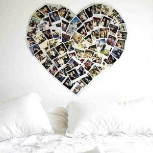 Taking photographs of memories and putting them in the shape of a heart above your bed. Clever!