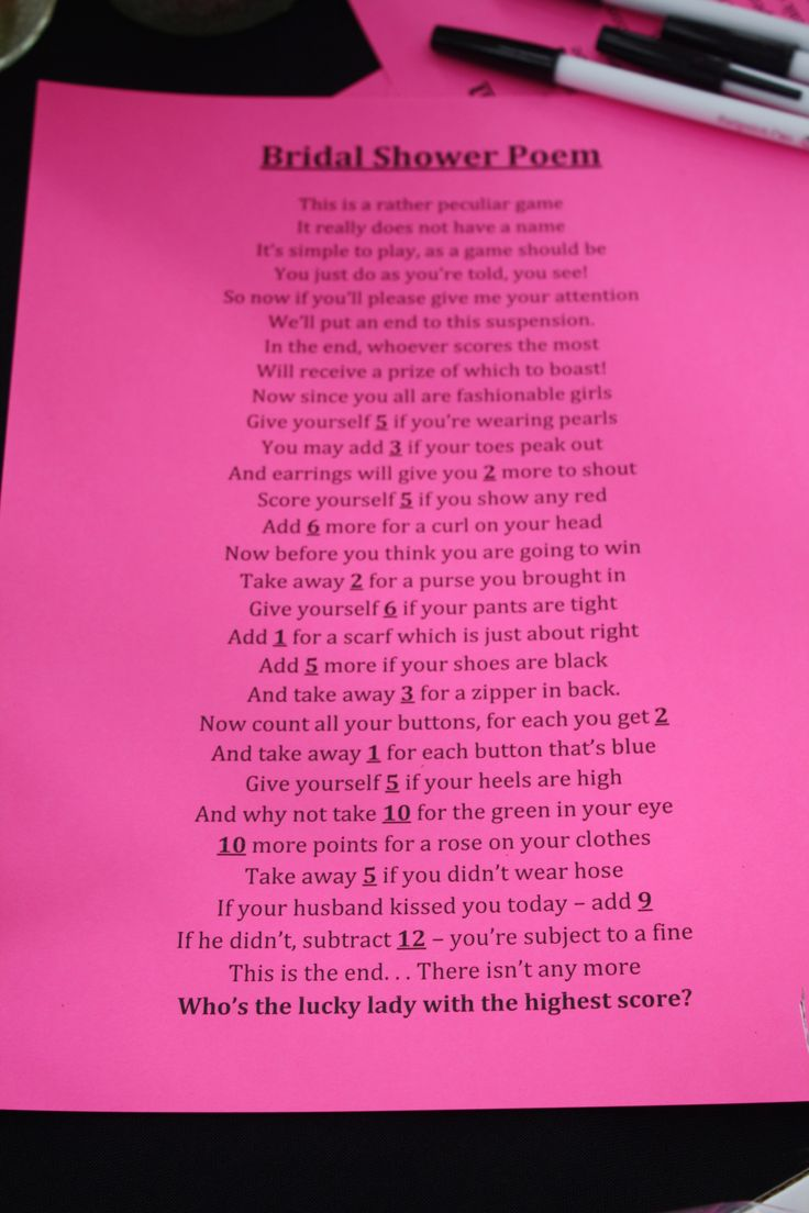 fun bridal shower game poem for the tables