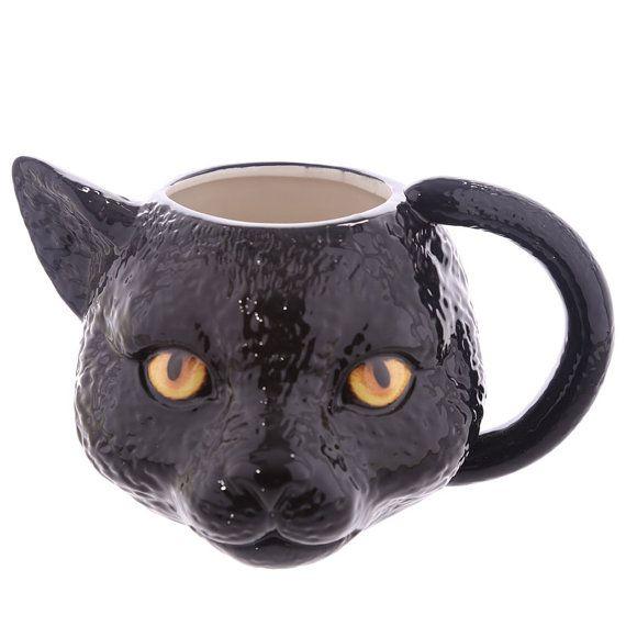 Coffee Mug Novelty Black Cat Head Shaped Ceramic by getgiftideas