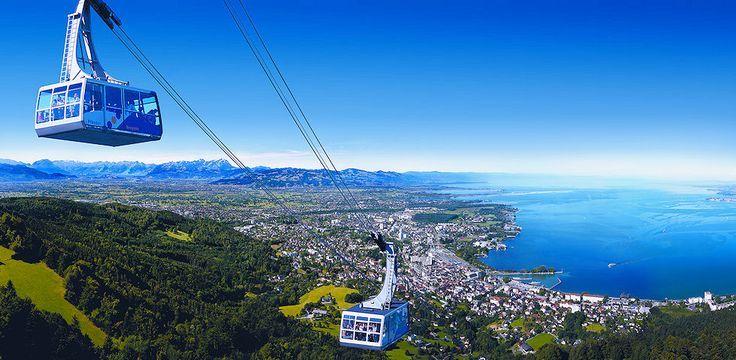 Bodensee Panorama mit Pfänderbahn, Urlaub, Ferien, Bregenz, Vorarlberg, Österreich