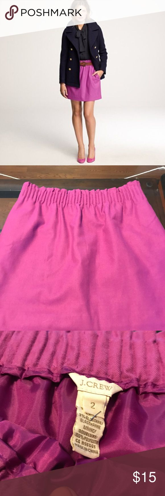 J.Crew City Mini Skirt in Magenta - size 2 Previously worn J. Crew skirt - wool/cotton, lined, with pockets.  Very fun color!  In great condition. J. Crew Skirts Mini