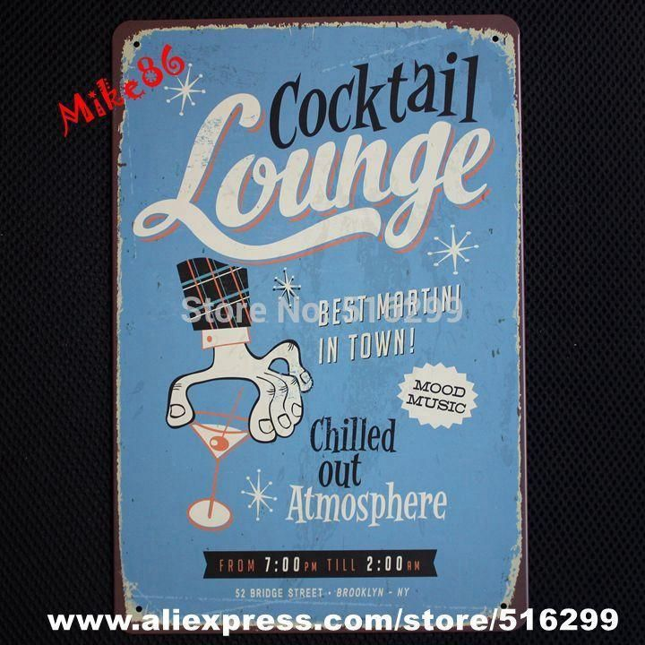 [ Mike86 ] Cocktail Lunge Bar Tin sign Art wall decoration House Cafe Pub Vintage Metal Plaque AA-33 Mix order 20*30 CM
