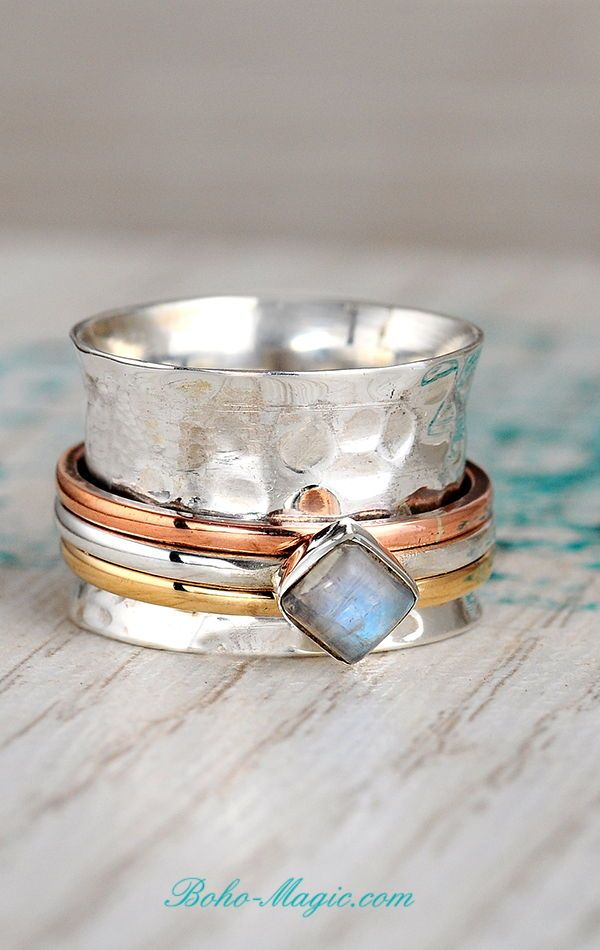 Details about  /Moonstone Ring 925 Sterling Silver Ring Fidget Ring Wide Ring All Size AK-491