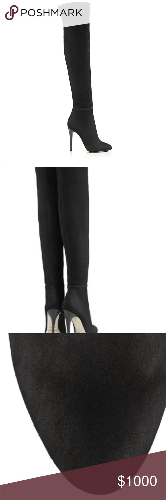 JIMMY CHOO Suede Over The Knee Boots ⚠️WORN ONCE⚠️These tight over the knee stretch boots are the epitome of opulence and simplicity. The clean, streamlined upper makes these an ideal option to transition through the day, whilst the sexy silhouette will give you an added boost of confidence. They're black suede  Heel measures 4.3 inches and they are in good condition and the price is negotiable, feel free to make an offer (they are still for sale on the Jimmy Choo website for $1,795.00)…