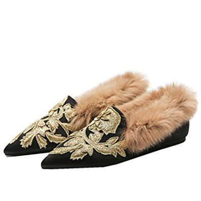 Kmeioo Slip On Loafers,Womens Embroidery Mule Shoes With Plush Lamb Fur  Velvet Backless Pointed