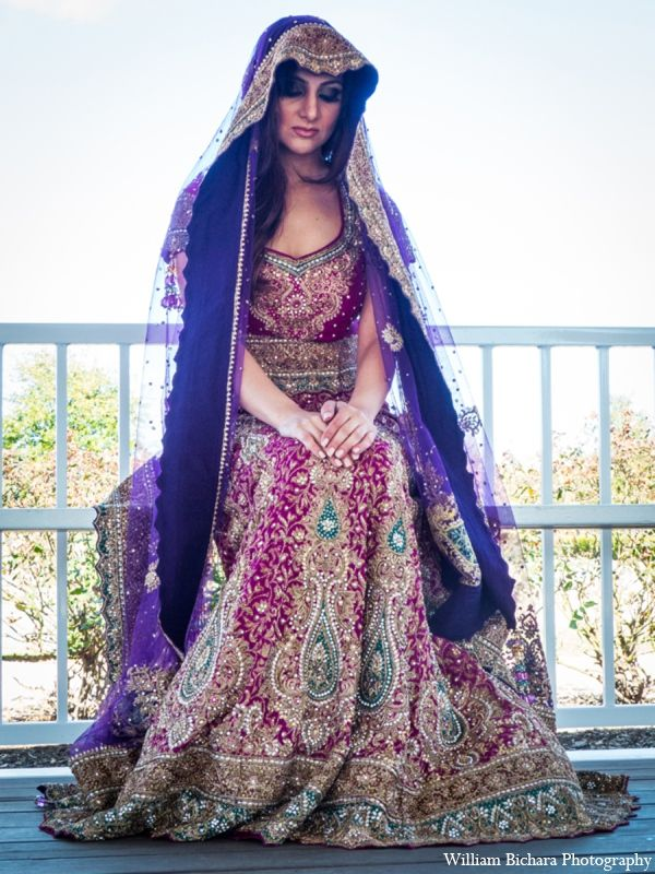 Glamorous Purple and red combination for brides