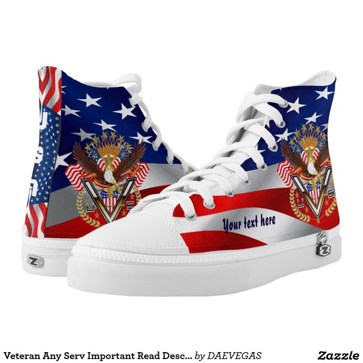 Veteran Any Servic NEW custom High Top ZIPZ® shoes The small z is a zipper not meant for Zazzle