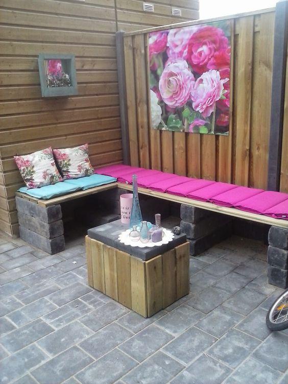 13 tolle ideen sitzb nke f r drau en zum selbermachen diy bastelideen gartengstaltung. Black Bedroom Furniture Sets. Home Design Ideas