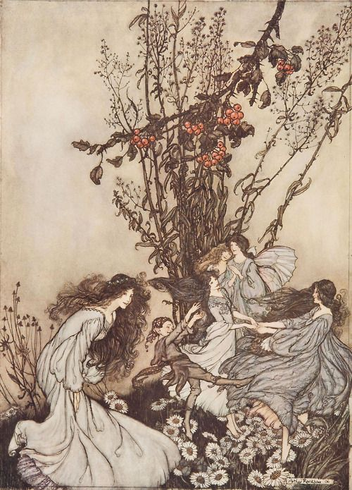 Dancing with fairies, an Arthur Rackham illustration from Peter Pan in Kensington Gardens.