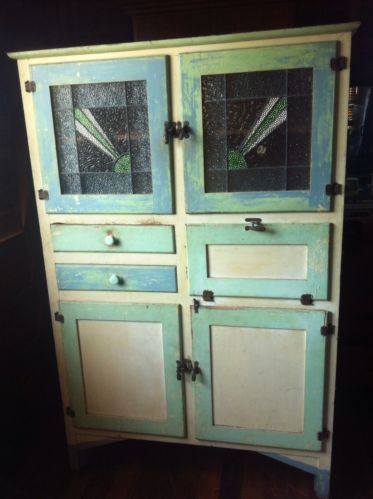 Vintage Kitchen Cupboard Hutch with Leadlight Staind Glass Doors
