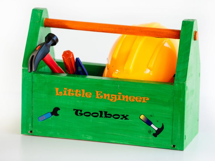 Order this toolbox with a hard hat and tools for R220.00 from kobus@littleengineer.co.za. Size:  350 x 270 x 150mm