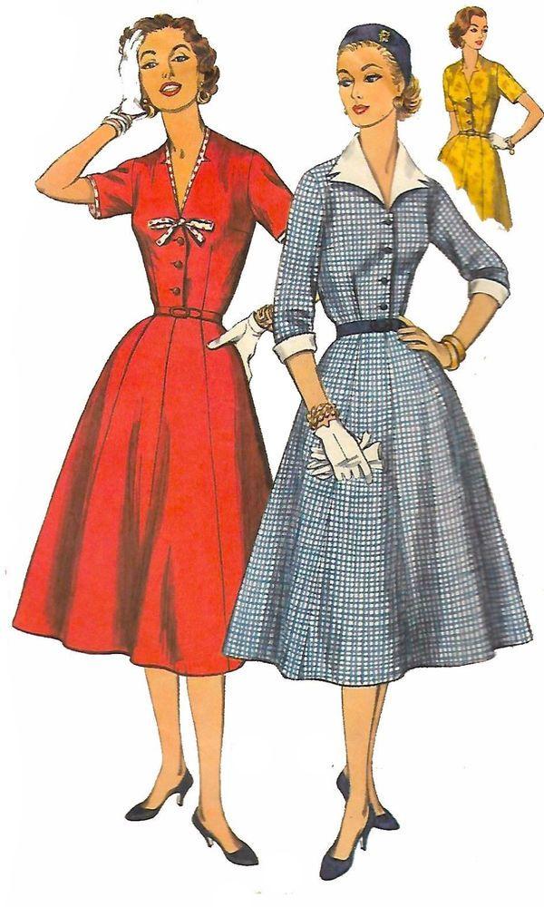 "Vintage 1950's Sewing Pattern Rockabilly  Swing Dress Collar Cuffs Bust 37"""