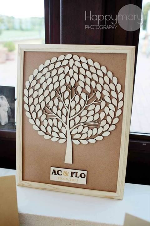Notre mariage: un arbre en bois à signature (alternative à l'arbre à empreintes)