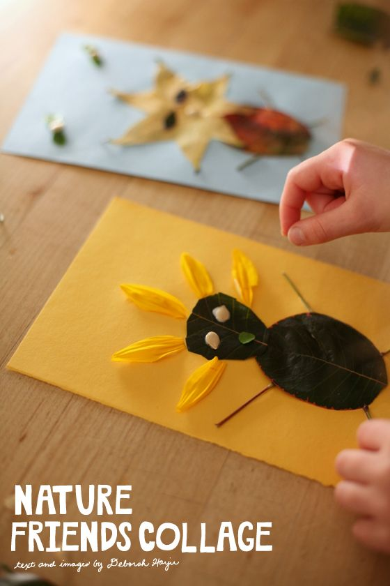 fall friends nature collage activity - great way to get kids tuned into nature and combine outdoor time with art