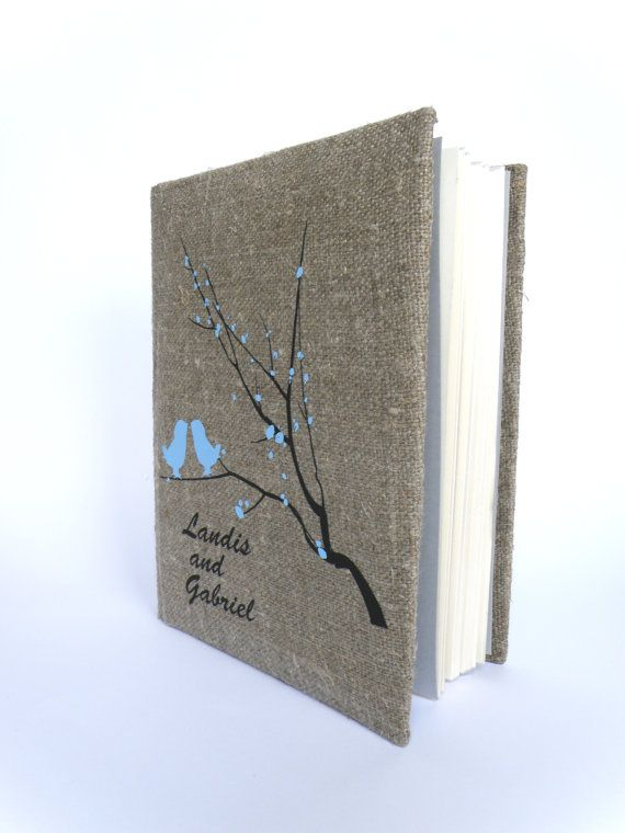 Wedding rustic  photo album burlap Linen Bridal shower anniversary Light blue birds and blossoms on brunch