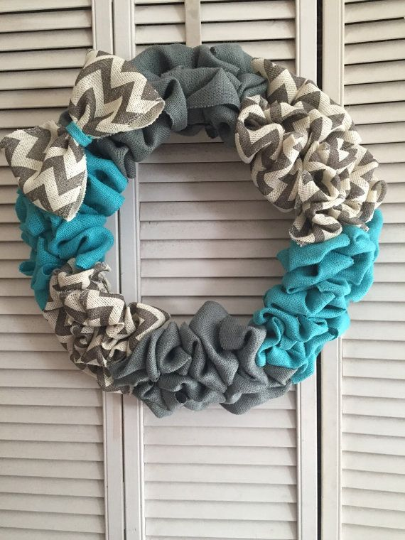 Chevron Gray Teal Turquoise Burlap Wreath With Bow Spring