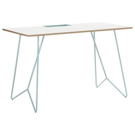 Crom Desk 120x60cm  White/Blue, $399 from Freedom. I don't need a desk, but gee, this is cute!