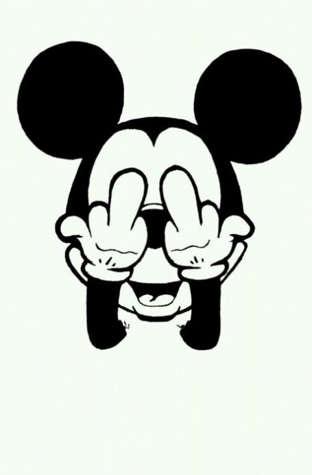 Mickey Mouse middle finger up your flip off