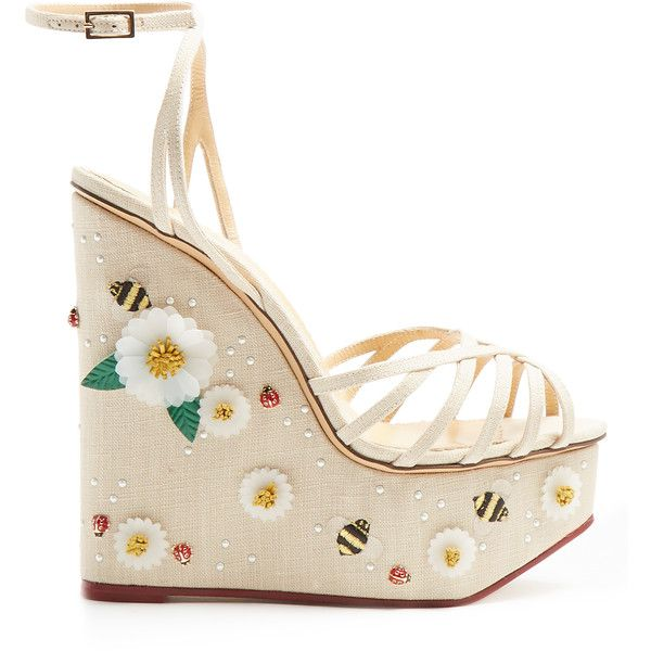Charlotte Olympia Floral Meredith linen wedge sandals ($1,346) ❤ liked on Polyvore featuring shoes, sandals, heels, cream, cream sandals, platform heel sandals, leaf sandals, platform sandals and floral print sandals