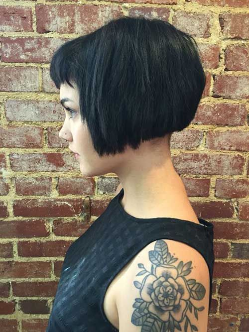 Shorter-than-Chin-Length Black Bob with Short Bangs for Straight, Thick Hair