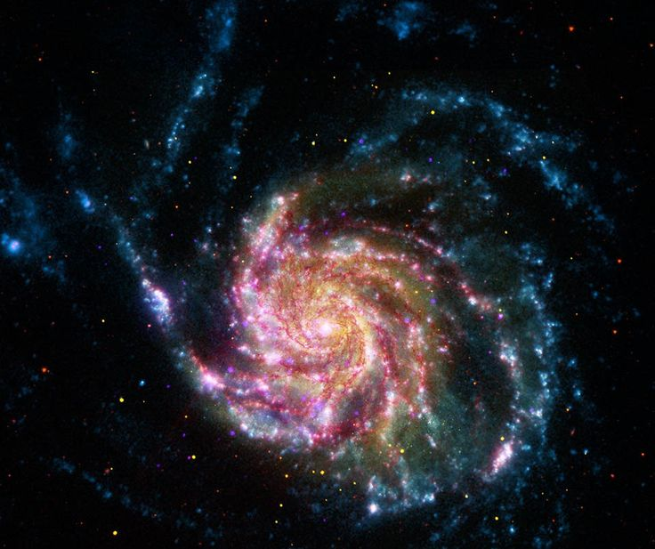 21st Century M101 Image Credit: NASA, ESA, CXC, JPL, Caltech STScI   About 170,000 light-years across, this galaxy is enormous, almost twice the size of our own Milky Way Galaxy. Color coded from X-rays to infrared wavelengths (high to low energies), the image data was taken from the Chandra X-ray Observatory (purple), the Galaxy Evolution Explorer ( blue), Hubble Space Telescope(yellow), and the Spitzer Space Telescope(red). Also known as the Pinwheel Galaxy...