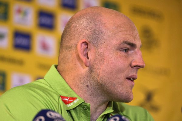 Stephen Moore Photos Photos - Stephen Moore speaks to the media during an Australian Wallabies captain's run at ANZ Stadium on August 19, 2016 in Sydney, Australia. - Wallabies Captain's Run
