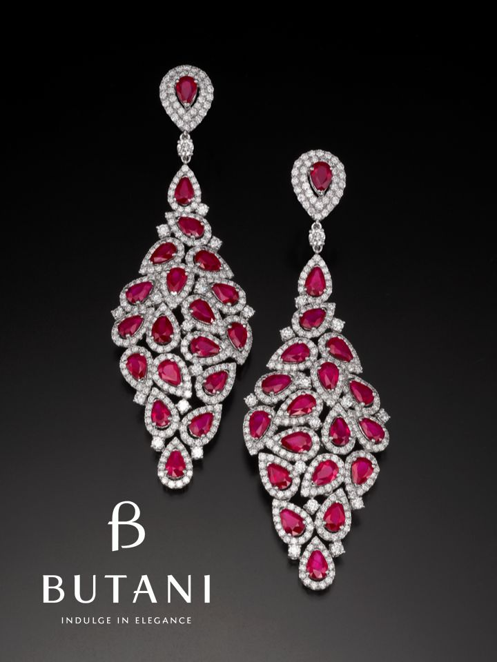 An instant uplift to your wardrobe with these fiery red Ruby and diamond Earrings #Butani #ButaniJewellery #DressUp #Ruby #Earrings