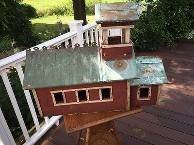 ANTIQUE FOLK ART  HOUSE, BARN  BELLTOWER CUPOLA, COPPER -HUGE SIZE MIDCENTURY