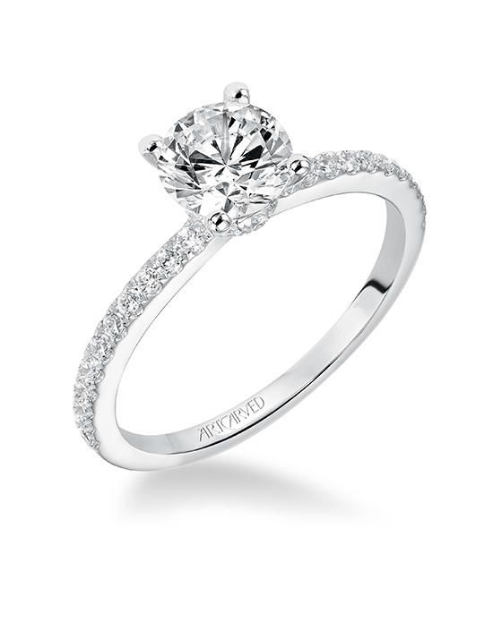 Sybil, Classic Prong Set Diamond Engagement Ring with diamond accented band | ArtCarved | https://www.theknot.com/fashion/31-v544erw-artcarved-engagement-ring