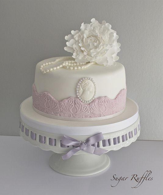 Peony and Pearls Birthday Cake   Flickr - Photo Sharing!