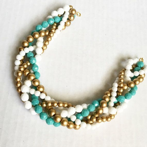 Wedding necklace  white and teal statement by ExperimentalOwl