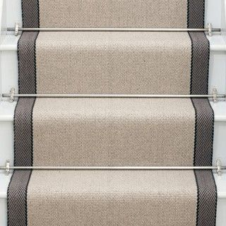 Hanover Oatmeal. Other couloirs available. British Company. Jenna, these are the stair runner rods I mentioned. You could get ghee in antique gold or brass or oil rubbed bronze depending on the hardware finish in your foyer.