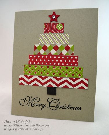 stampin up, dostamping, dawn olchefske, demonstrator, festival of prints dsp, christmas tree card                                                                                                                                                                                 More