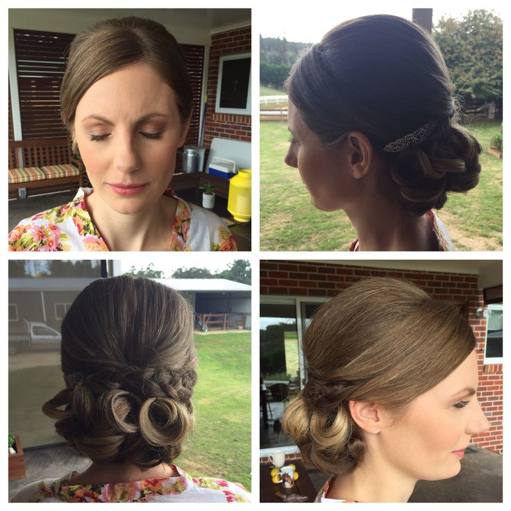 Bridal hair and makeup soft natural makeup... Smooth defined curly bun with braid