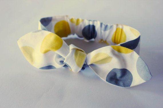Baby Headband lemon grey spots Peyton baby by  ElleBelleBliss $12 AUD