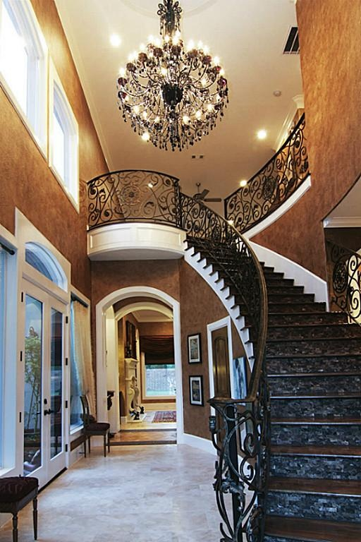 17 best images about staircase chandeliers on pinterest for Two story spiral staircase