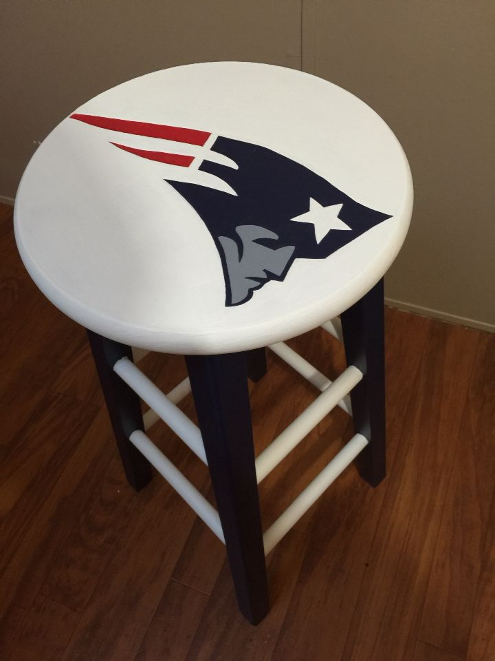 Custom Hand Painted New England Patriots Bar Stool
