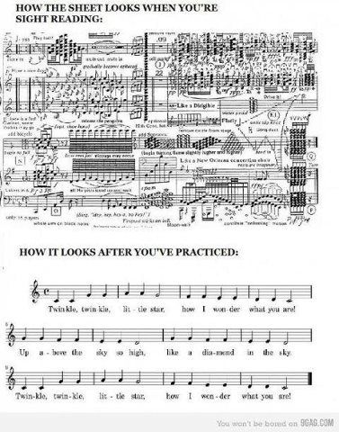 So true! Except for a novice like me, sight reading is slightly easier.