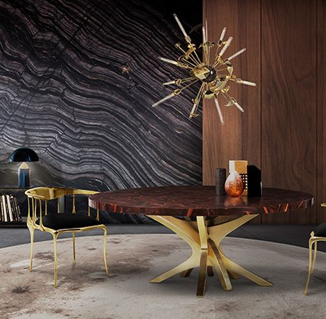 PATCH DINING TABLE - Table with a top made through marquetry in ebony leaf. | See more: www.bocadolobo.com #bocadolobo #furniture #diningtable