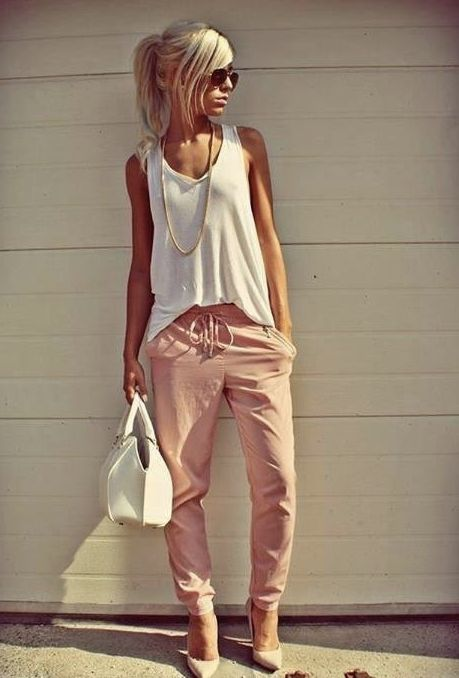Pink Pants With White Singlet And Handbag | Ultimate Women's Fashion