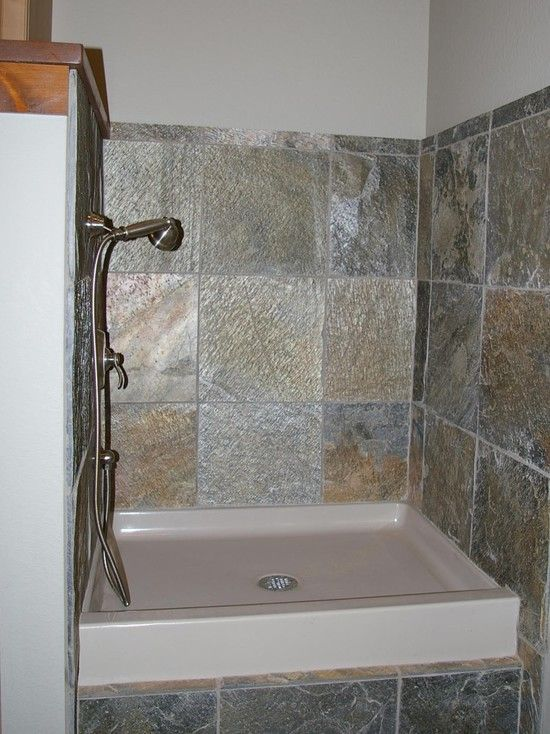 Dog Bath Design, Charming Dog Shower With Natural Stones Wall Material Also  Cream Dog Shower