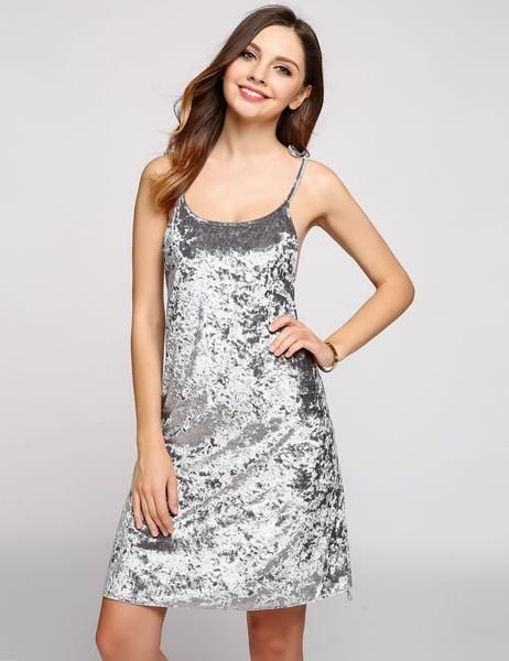 Grey Velvet Spaghetti Strap Sleeveless Solid Backless Skater Going Out Dress