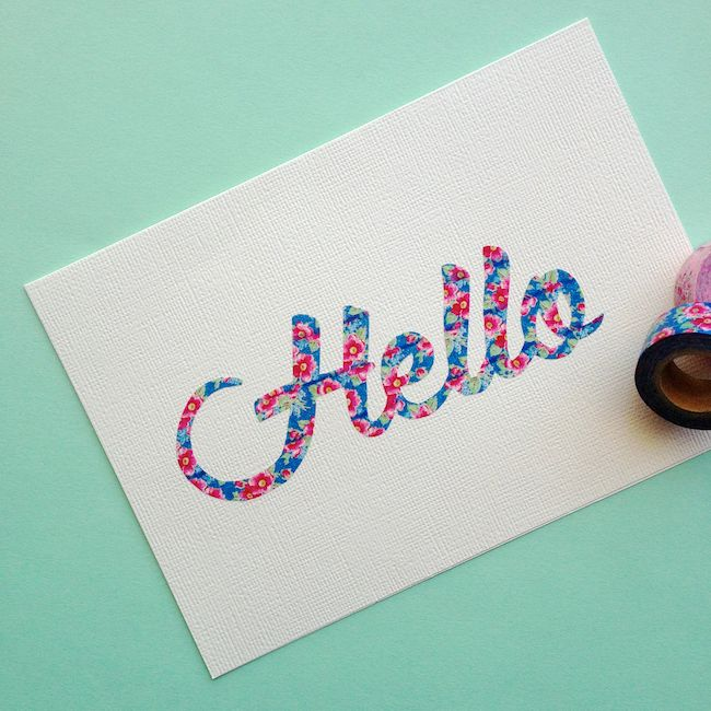 Washi tape script - to try with dies (cover CS with tape, then cut)