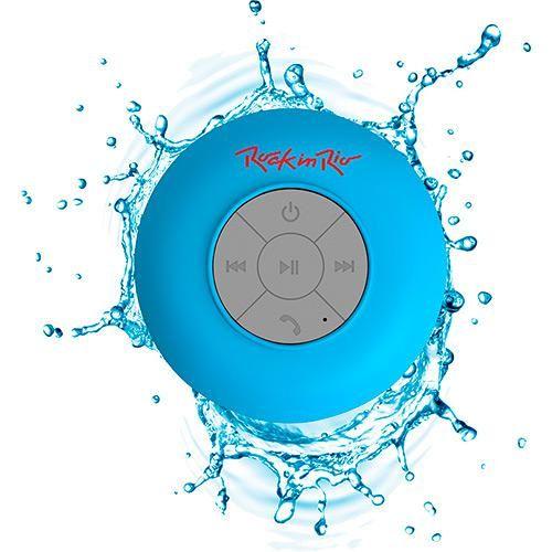 Foto 2 - Caixa de Som Bluetooth Aquarius Rock in Rio Azul 3W RMS USB Resistente à Água