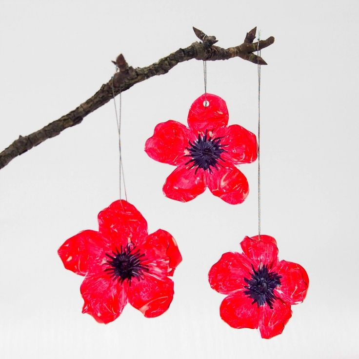 DIY Recycled Plastic Bottle Poppy Craft