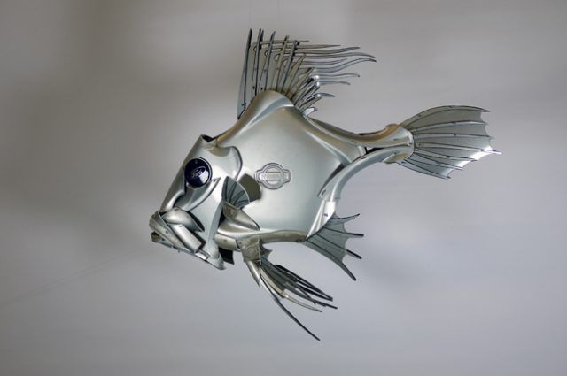 Recycled Sculpture Scrap Art Green Eco Recycledart Junk Rubbish Hubcap Fish Fishes Angling Deepseafishing Deep Sea Joh Recycle Sculpture Sculpture Recycled Art