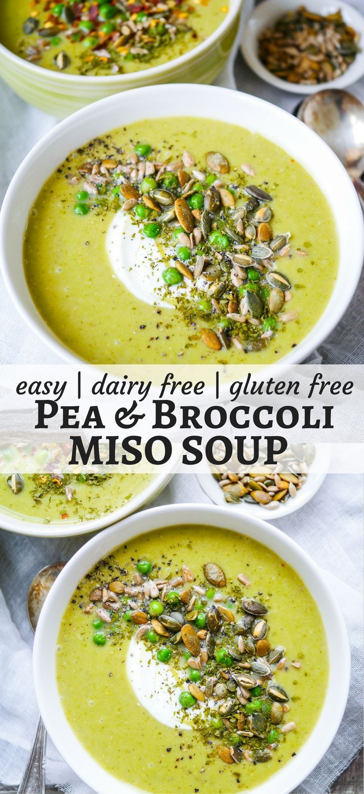 Pea and Broccoli Miso Soup is nourishing, comforting and easy to make. Gluten free, dairy free and sugar free, a healthy vegan hug in a bowl! #broccolisoup #vegan #soup #healthy #glutenfree