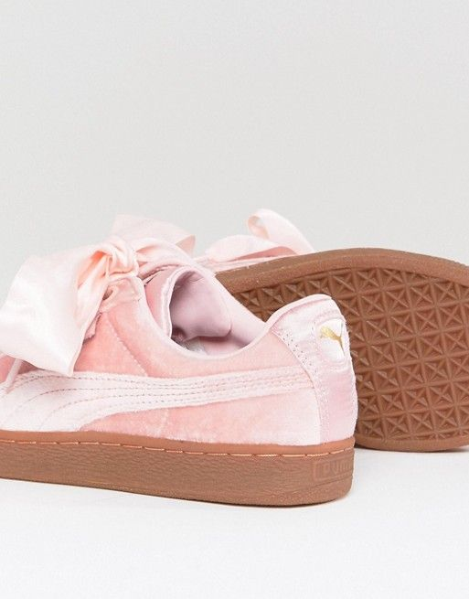 Puma Basket Heart Trainers In Pink Velvet  dc57d540f