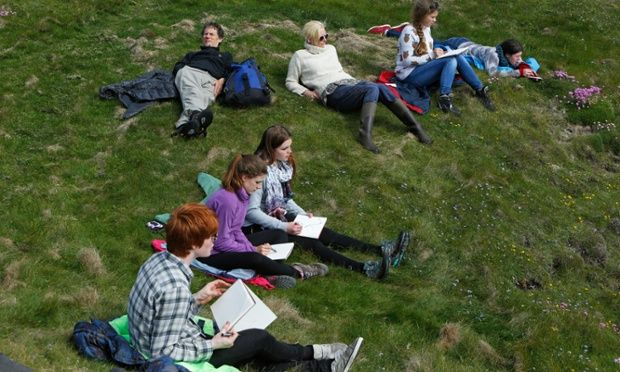 Life class: students sketching on Colonsay.