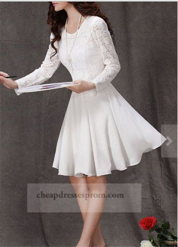 Short White Lace Dress With Long Sleeve